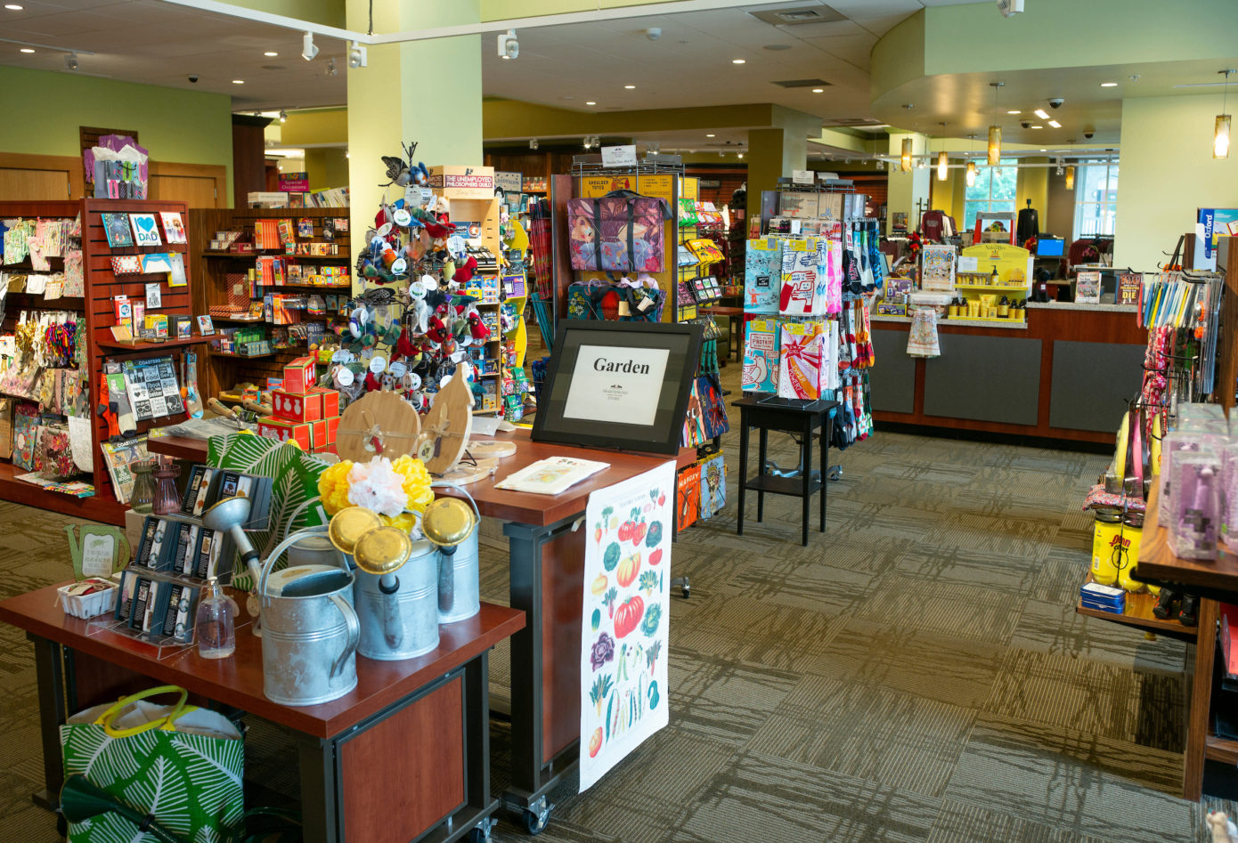 Interior shot of the Swarthmore College bookstore's main merchandise displays