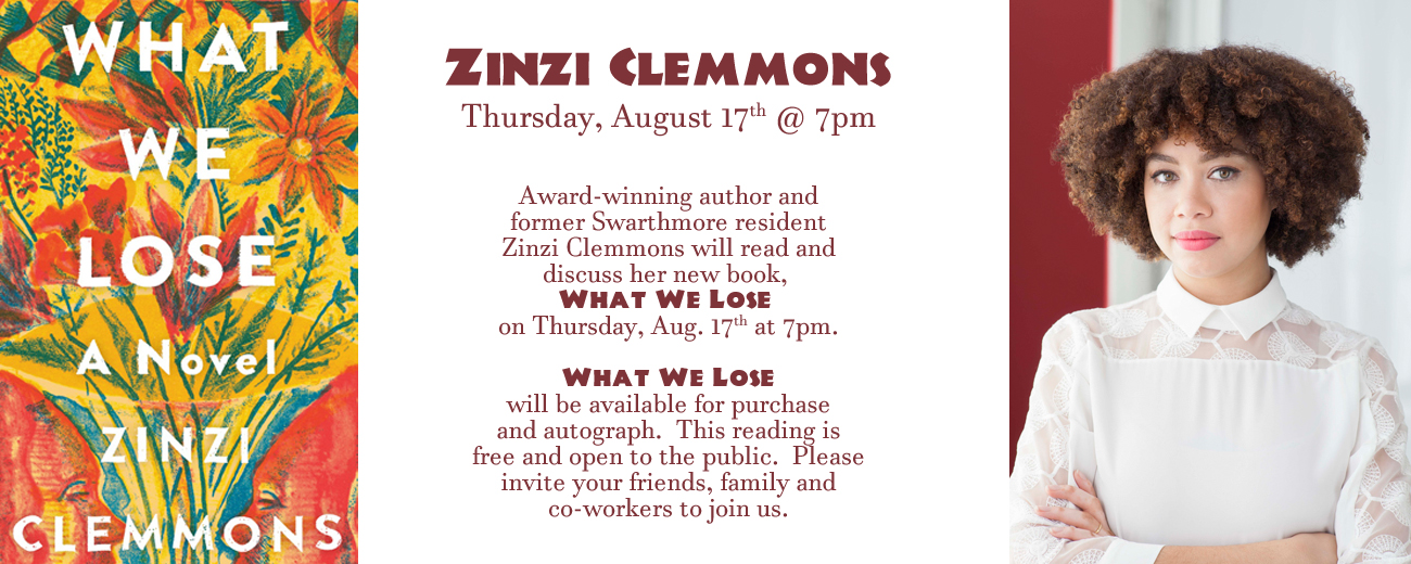 Zinzi Clemons Appearance Thursday August 17 at seven-o-clock
