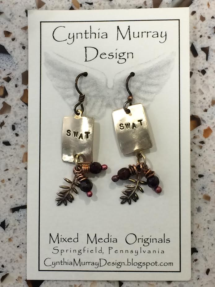 "Image For Earrings Handmade Mixed Media ""SWAT"""