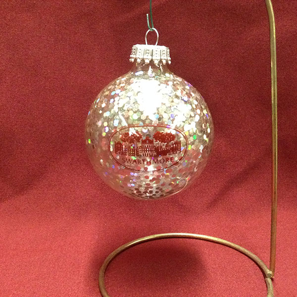 Image For Glass Ball Ornament Speckled Silver with Parrish Hall