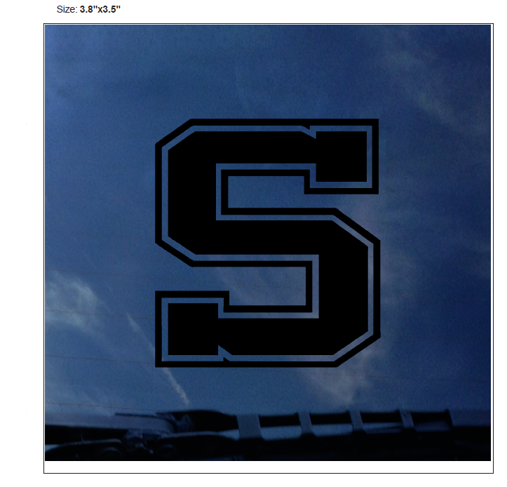 "Image For Decal Black Out ""S"" Logo 3.8""x 3.5"""
