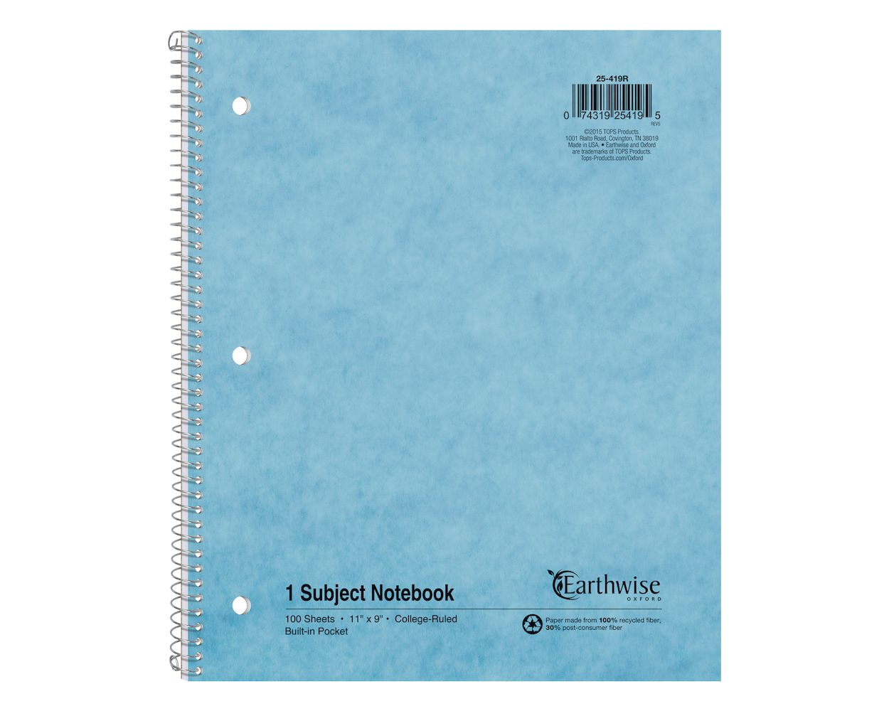 Image For Earthwise by Oxford Recycled 1-Subject Notebook