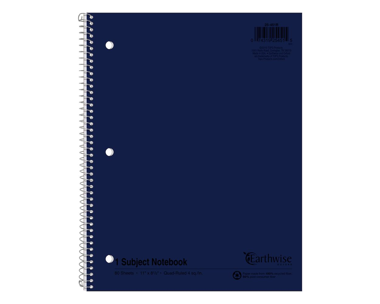 Image For Earthwise by Oxford Recycled Graph 1-Subject Notebook
