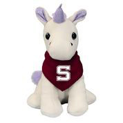 Image For Palm Pal plush purple unicorn with Swarthmore bandana