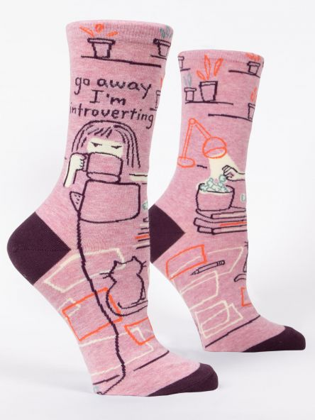Cover Image For Women's Crew Socks go away I'm introverting