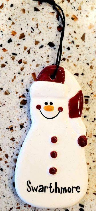 Image For Striped Hat Snowman Ornament